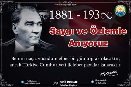 """Başkan Duruay: """"Atatürk'ün öğütlerini, nesilden nesile aktararak"""" .."""