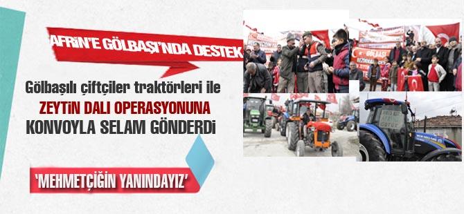 Gölbaşılı çiftçiler traktörleri ile destek verdi