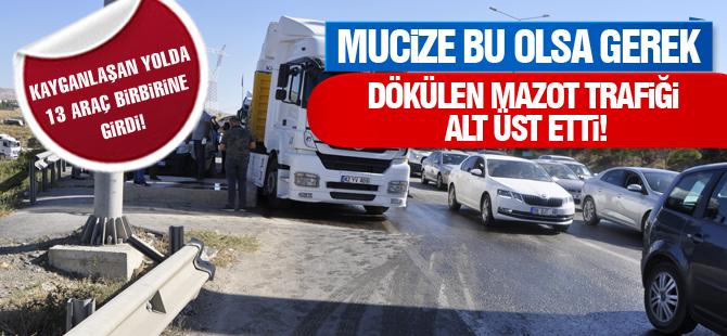 Mazot yola döküldü: 13 araç birbirine girdi
