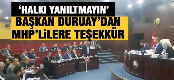 """Başkan Duruay; """"MHP'lilere teşekkür ederim"""""""
