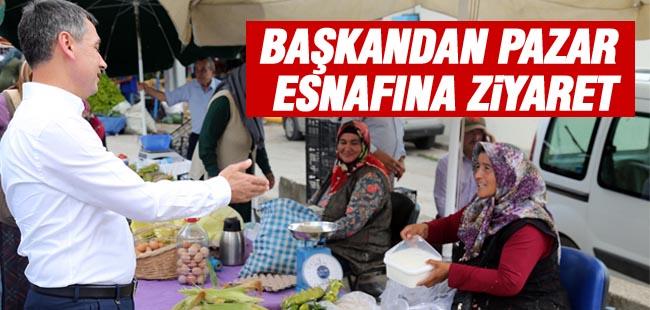 Başkan Şimşek'ten pazar esnafına ziyaret
