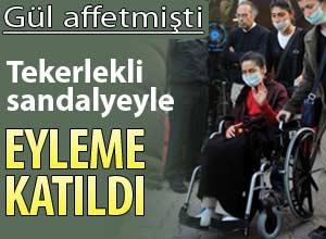 Zere tekerlekli sandalyeyle eyleme katıldı