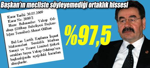 BELEDİYENİN BELLASTAKİ HİSSESİ %97,5