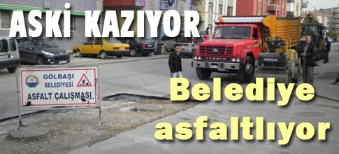 ASKİ kazıyor, Belediye asfaltlıyor