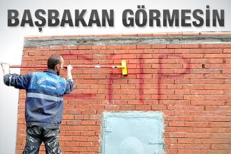 Miting öncesi Başbakan için CHP'yi sildiler