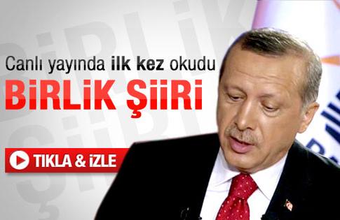 Başbakan Erdoğandan birlik şiiri