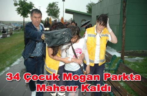 34 Çocuk Mogan Parkta Mahsur Kaldı