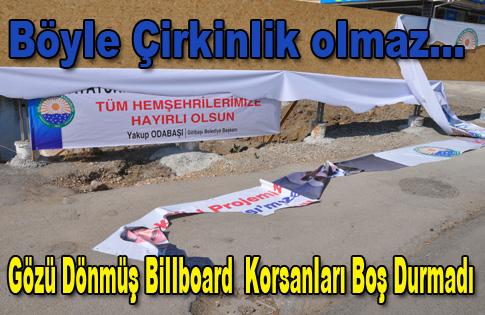 Gölbaşı Belediyesi'nin Reklam billboardlarına Çirkin Saldırı