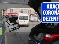 Gölbşaı'nda araçlara corona virüs dezenfektesi